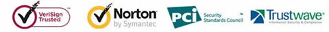 BY verisign trusted, Norton by symantec, pci security,trustwave