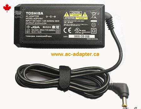 TOSHIBA 12V 2A Laptop Ac Adapter On Adapterca TOSHIBA12V2A24W 55x30mm
